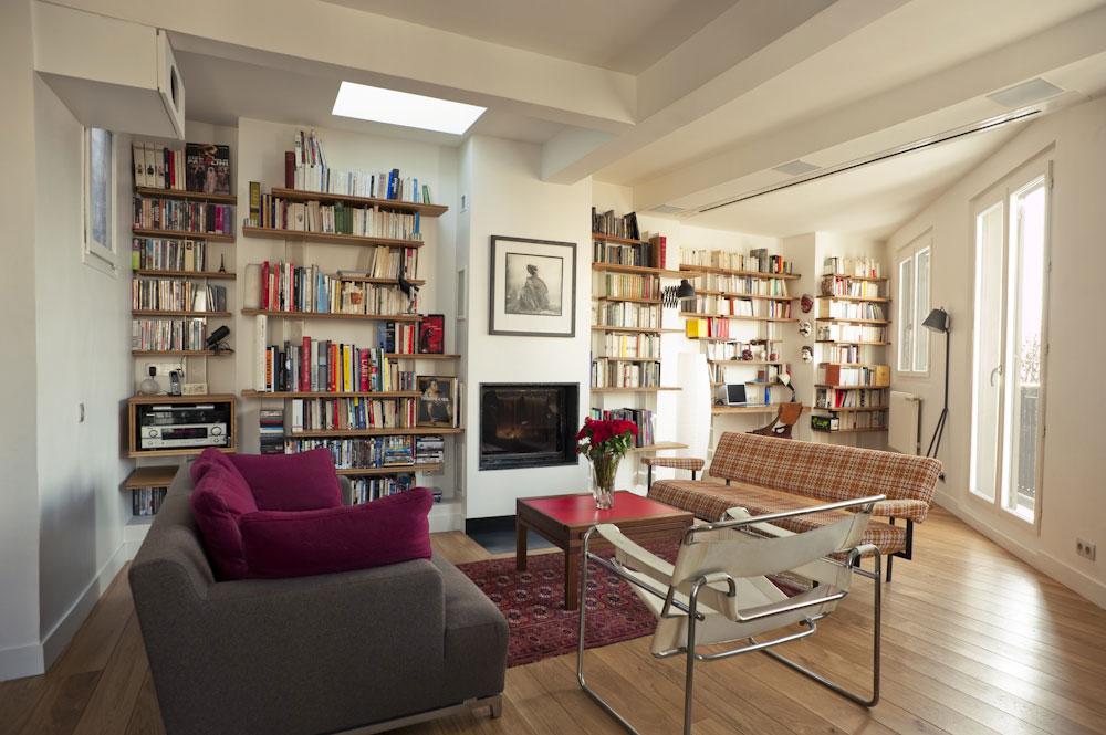 Biblioth que abbe salon ma ma architectes - Salon avec bibliotheque ...